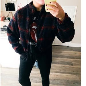 NWT Plaid bomber zip up jacket